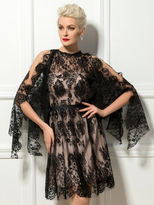 Jewel Neck Black Lace Cocktail Dress