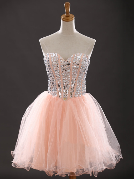 Sweetheart Beading Mini Lace-Up Homecoming Dress