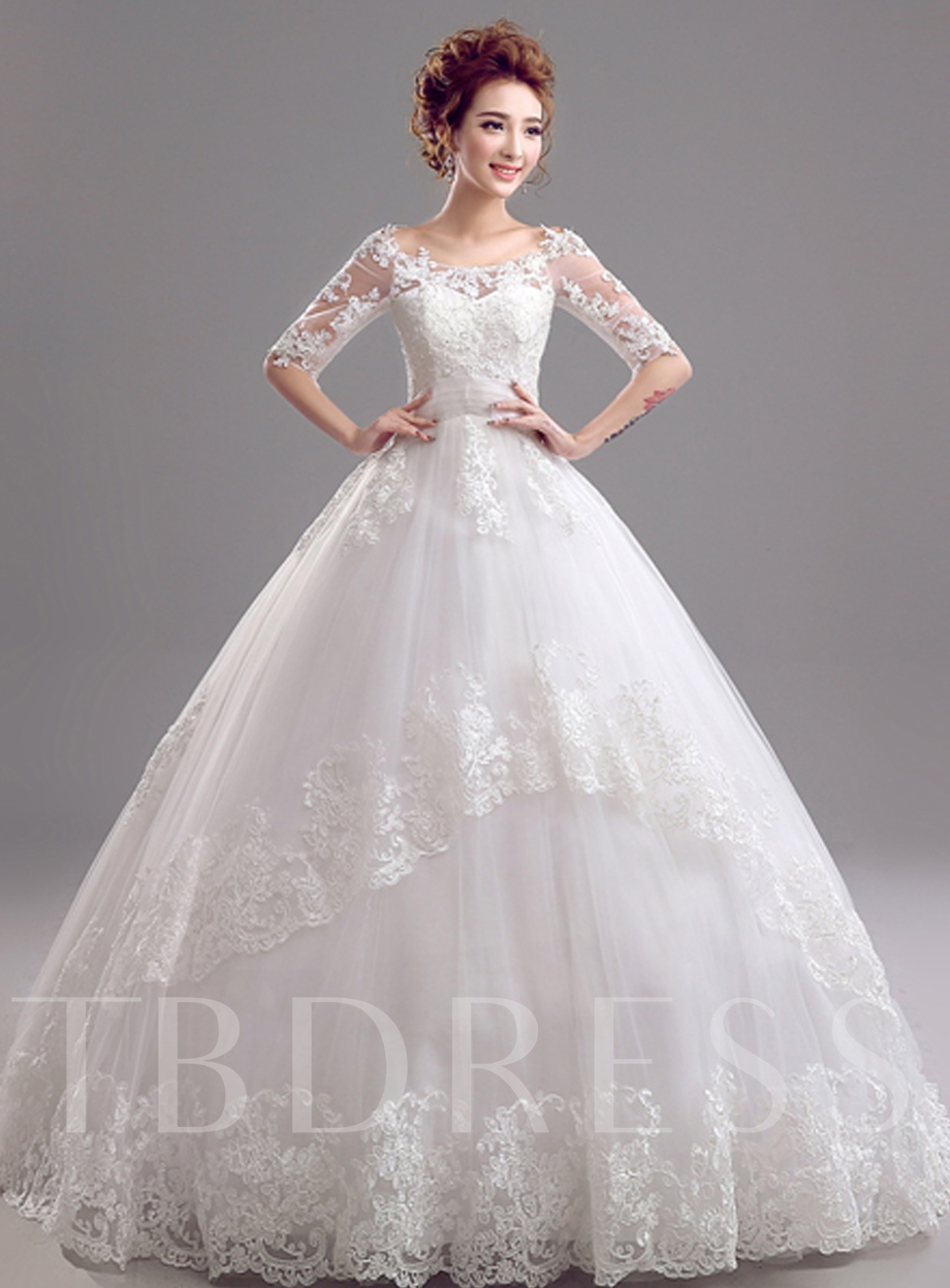 Image of Bateau Ball Gown Half Sleeves Lace Wedding Dress