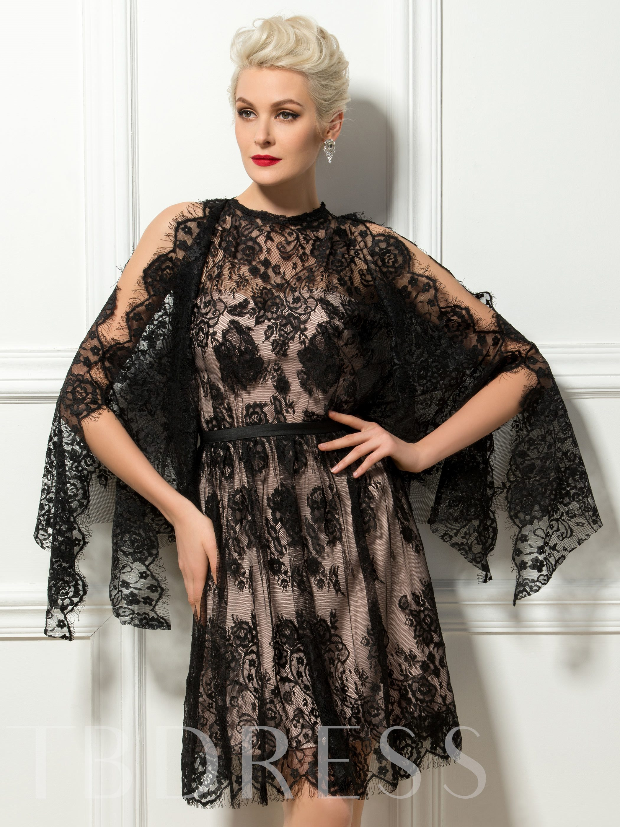 Image of A-Line Jewel Lace Cocktail Dress