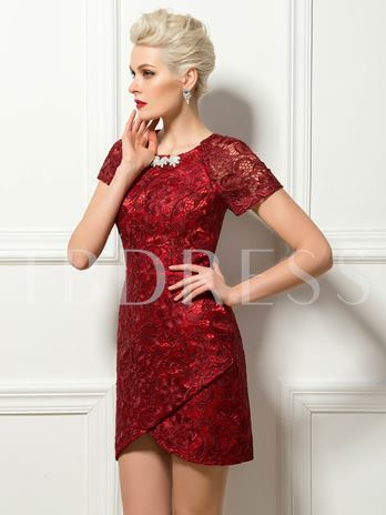 Lace Short Sleeves Mini Length Sheath Cocktail Dress