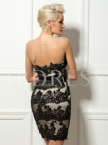 Beaded Sweetheart Lace Appliques Sheath Cocktail Dress