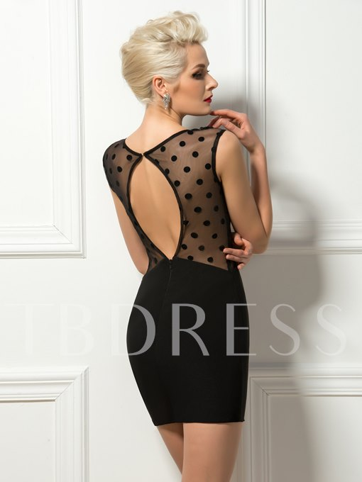 Sheer Dotted Back Sheath Cocktail Dress