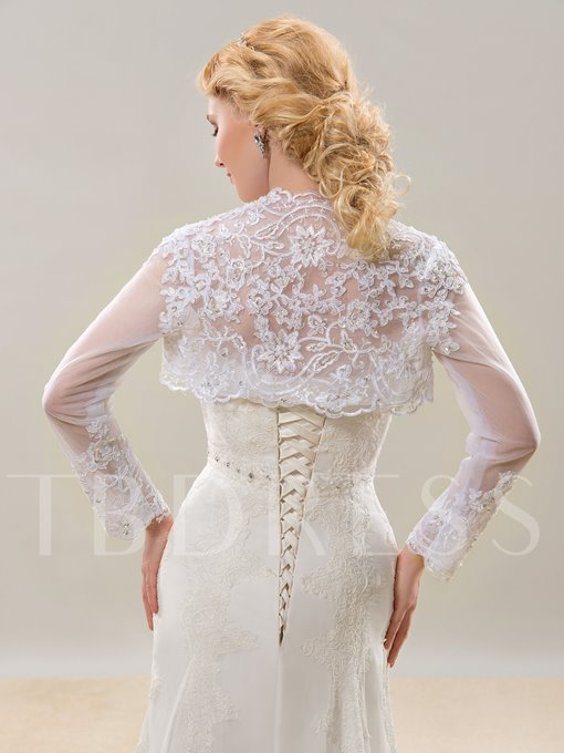 Long Sleeves Appliques Lace Wedding Jacket