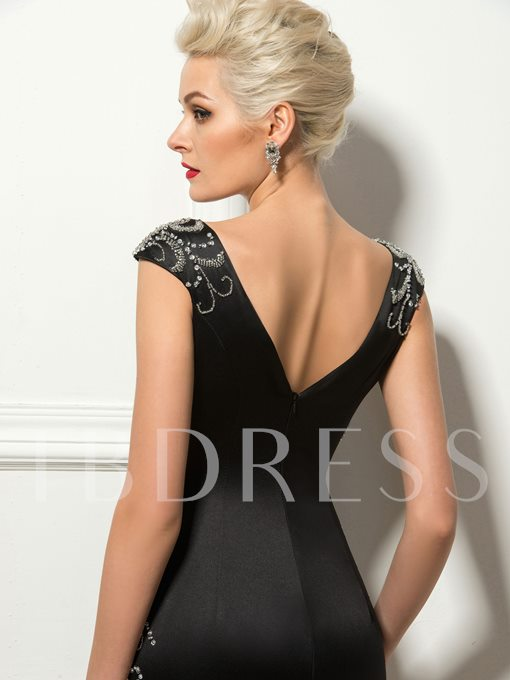 Deep V-Neck Sheath Beadings Cocktail Dress