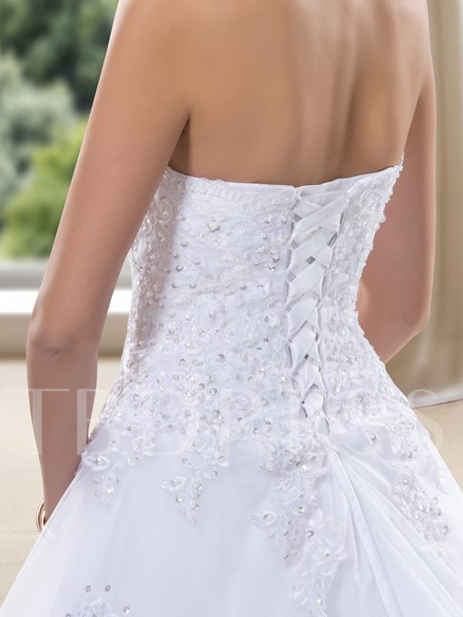 Strapless Applqiues Sequins Lace-up Wedding Dress