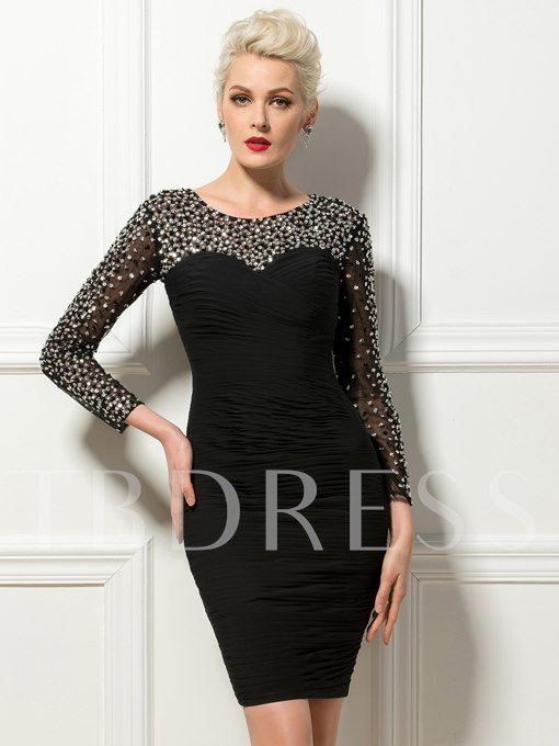 Sheath Scoop Beading Short Cocktail Dress