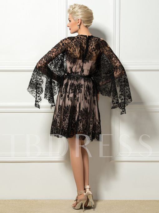 A-Line Jewel Lace Cocktail Dress