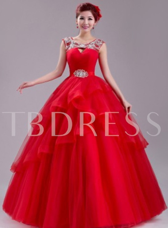 A-Line Scoop Backless Flowers Rhinestone Quinceanera Dress