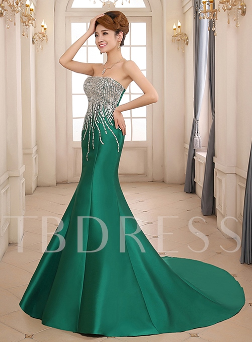 Trumpet Strapless Rhinestone Evening Dress