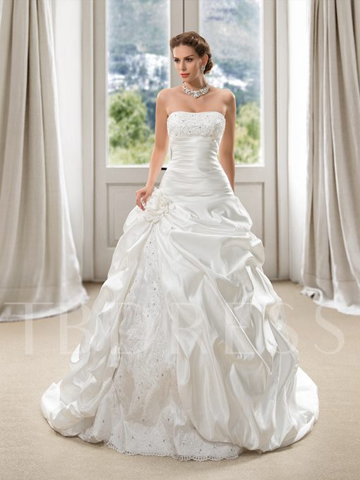 Strapless Beading Pick-Ups Ball Gown Wedding Dress