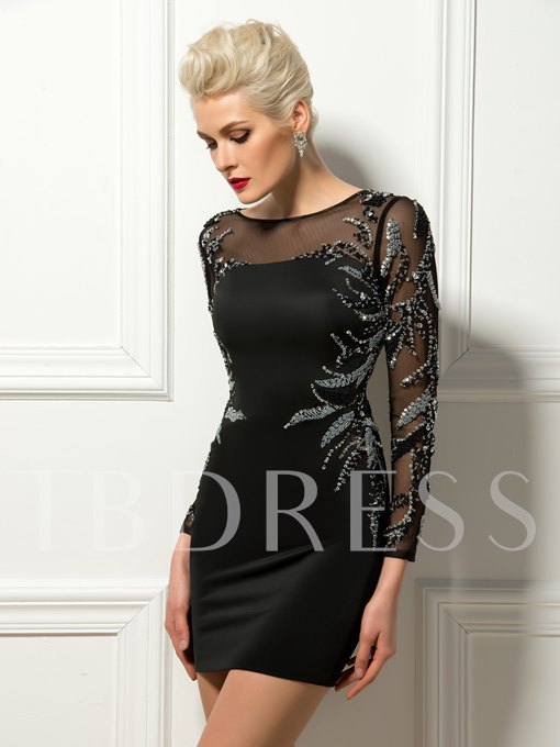 Beadings Embroidery Long Sleeves Column Short Cocktail Dress