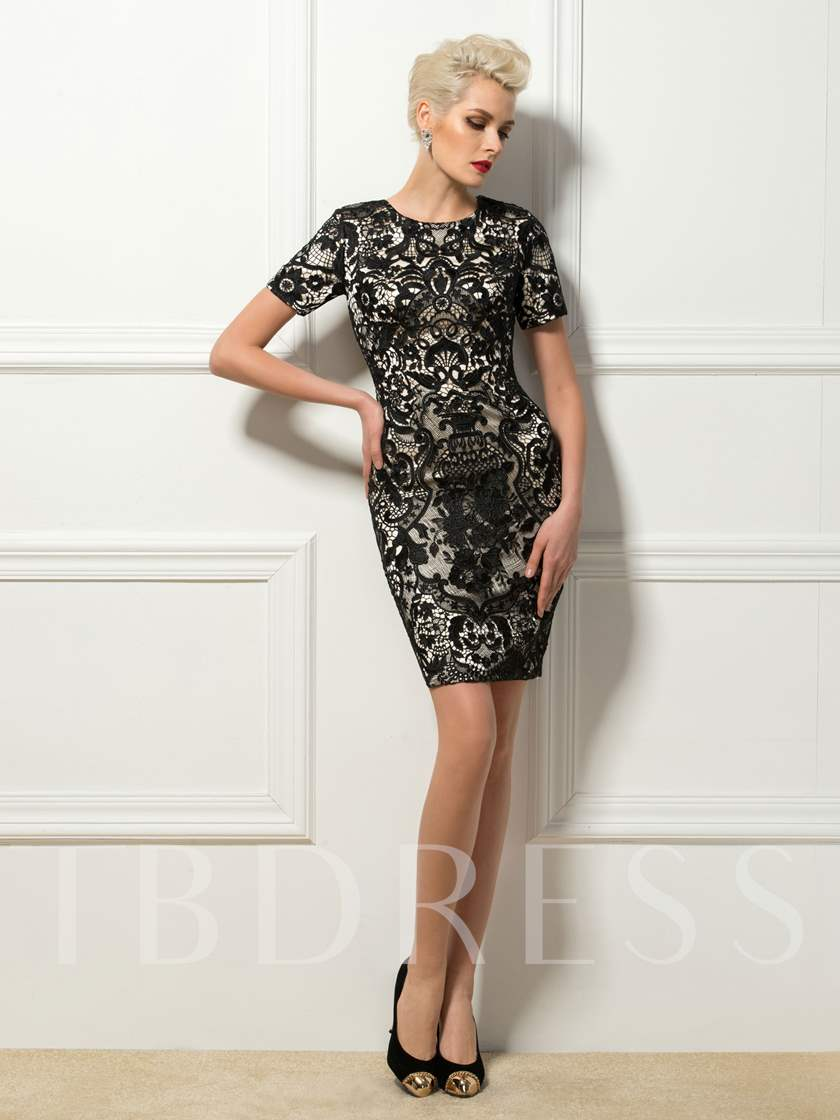 Sheath Jewel Lace Short Cocktail Dress
