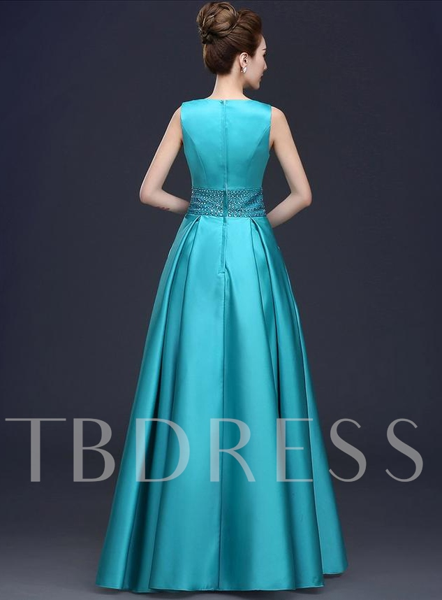A-Line Bateau Beadings Rhinestone Evening Dress