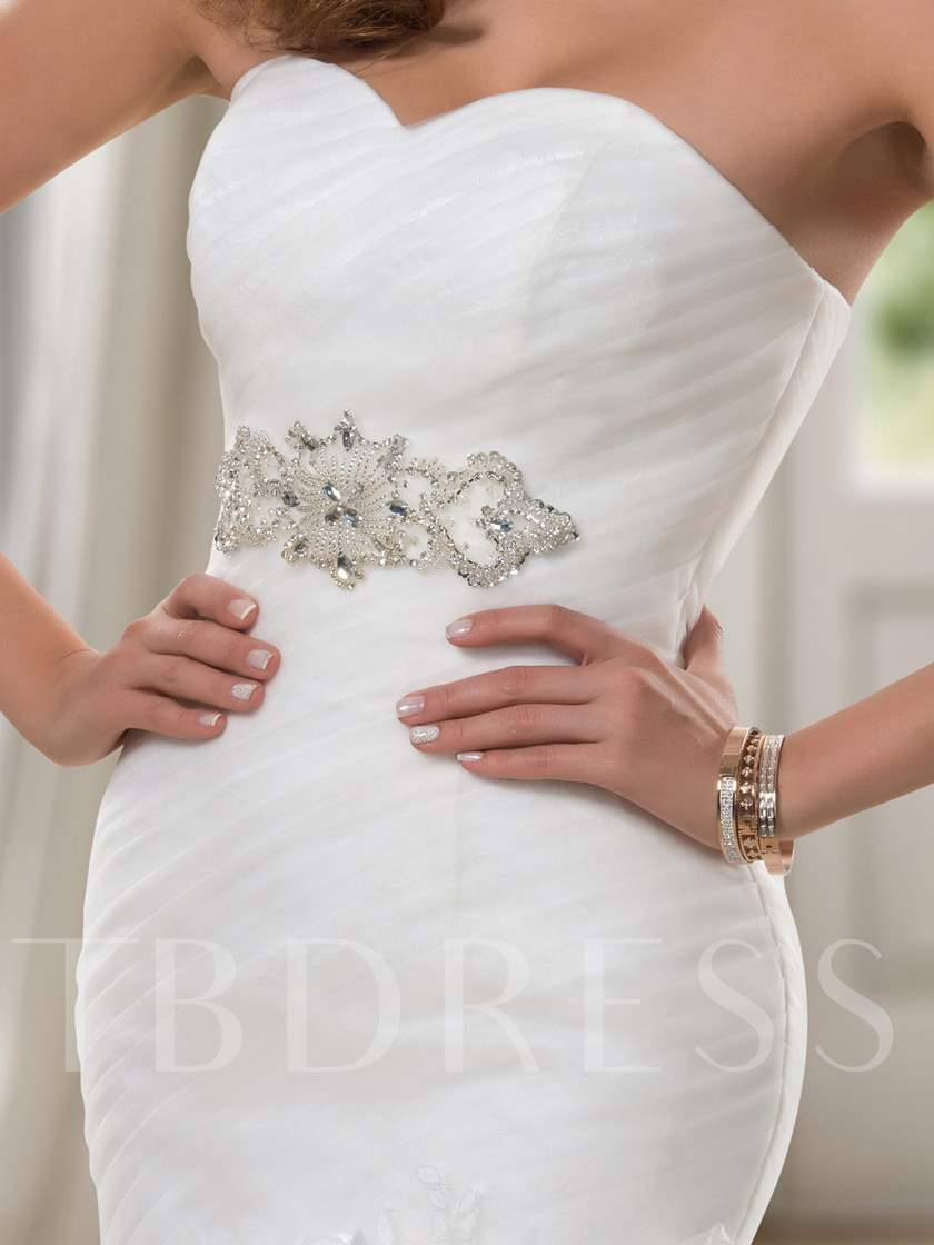 Trumpet Sweetheart Sequins Ruched Lace-Up Wedding Dress
