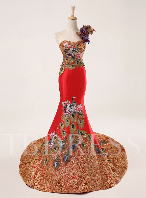 Mermaid One-Shoulder Appliques Embroidery Evening Dress