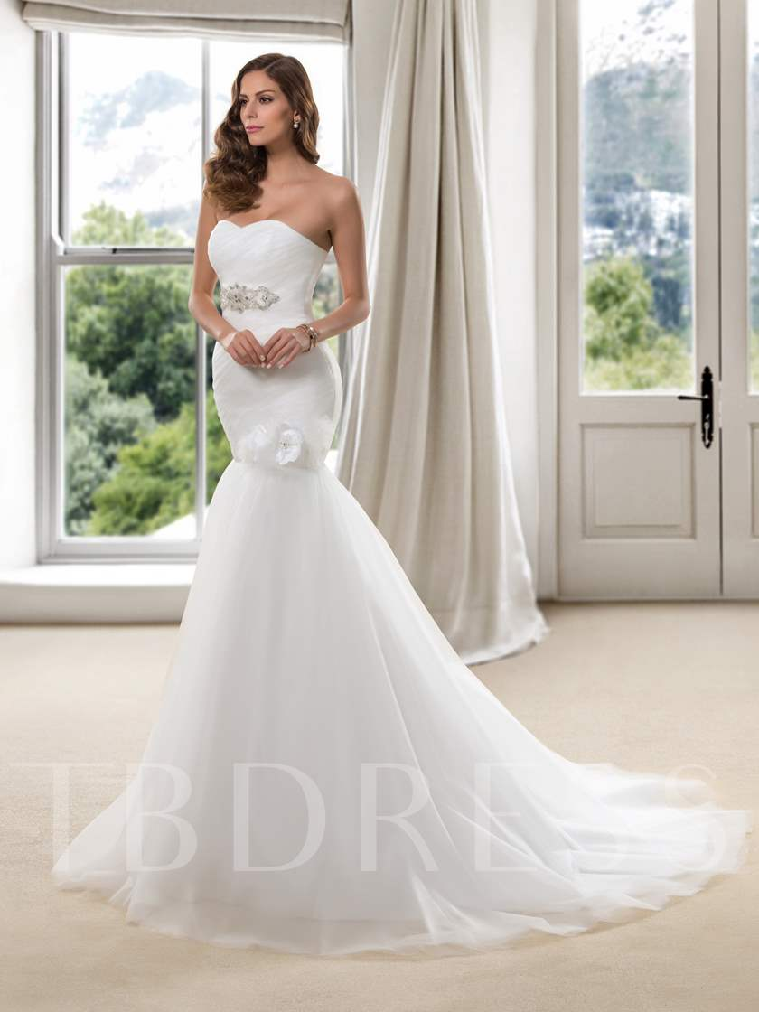 Trumpet Sweetheart Beading 3D Floral Wedding Dress