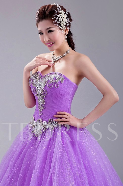 A-Line Rhinestone Beadings Quinceanera Dress