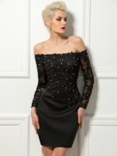 Beaded Off-The-Shoulder Appliques Long Sleeves Sheath Cocktail Dress