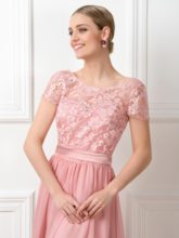 Lace Short Sleeves Sashes Long Bridesmaid Dress