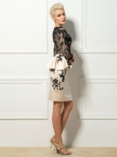 Sheath 3/4 Length Sleeves Appliques Cocktail Dress