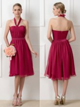 Ruched Convertible Knee-Length Bridesmaid Dress