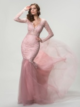 Long Sleeves Deep V-Neck Mermaid Evening Dress
