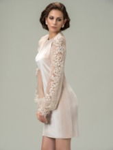 Appliques Long Sleeves Short Mother of the Bride Dress