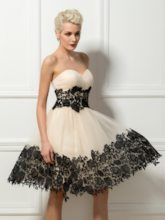 Strapless Sweetheart Lace Appliques Cocktail Dress