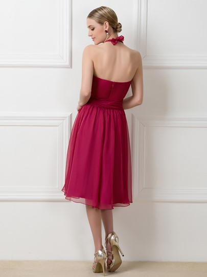 A-Line Ruched Convertible Knee-Length Bridesmaid Dress