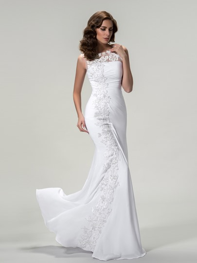 Jewel Neck Sleeveless Appliques Sheath Evening Dress