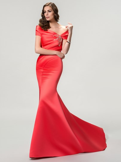 Off The Shoulder Mermaid/Trumpet Zipper-Up Evening Dress