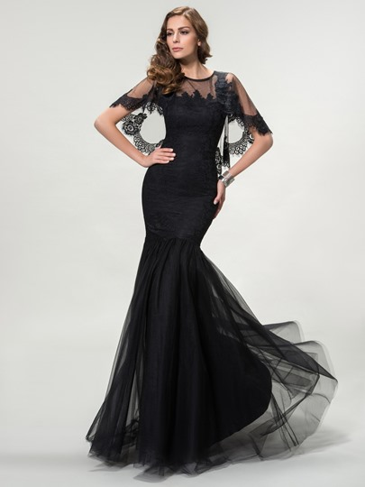 Trumpet Scoop Tulle Zipper-Up Evening Dress