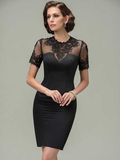 Jewel Appliques Sheath Short Mother of the Bride Dress
