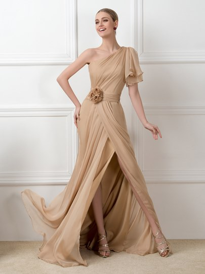 One-Shoulder Sweep Train Side-Split Floor-Length Evening Dresses
