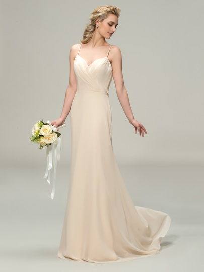 Sweep Train A-Line Spaghetti Straps Long Bridesmaid Dress