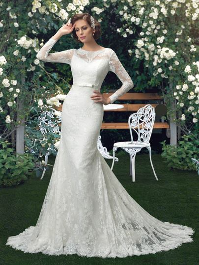 Long Sleeves Button Back Mermaid Lace Wedding Dress