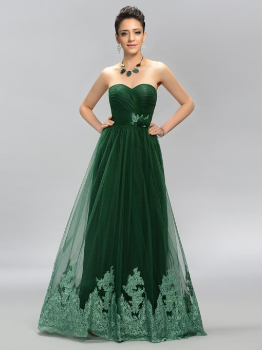 Sweetheart Neckline Appliques A-Line Prom Dress