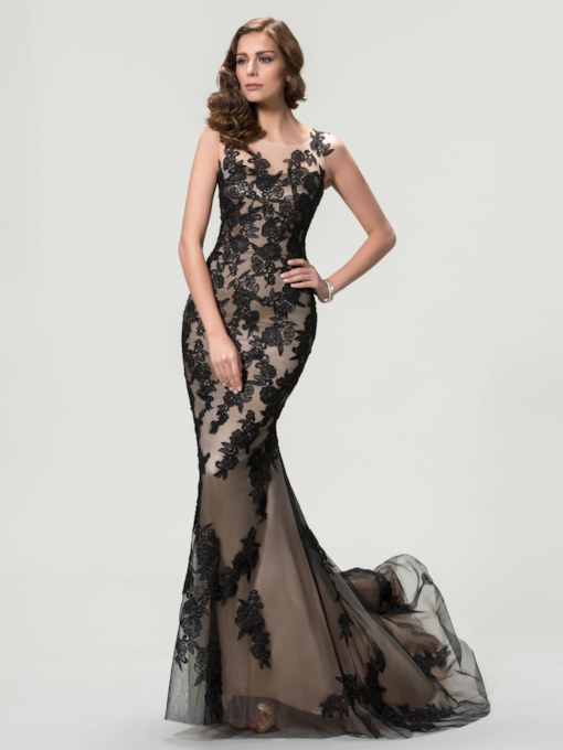 Straps Black Appliques Lace Mermaid Evening Dress