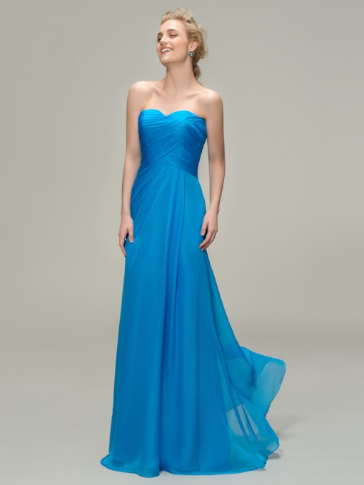 Royal Blue Sweetheart Pleats Long Bridesmaid Dress