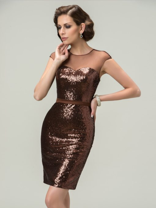 Sheath Scoop Tulle Sequins Zipper-Up Mini Evening Dress