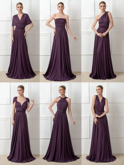 Convertible Pleats Ruched A-Line Long Bridesmaid Dress