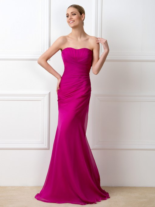 Sweetheart Pleats Mermaid Long Bridesmaid Dress