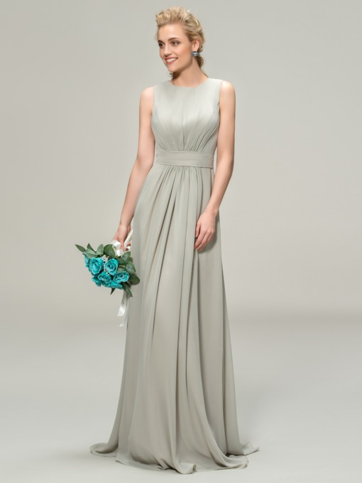 A-Line Jewel Neck Ruched Long Bridemaid Dress