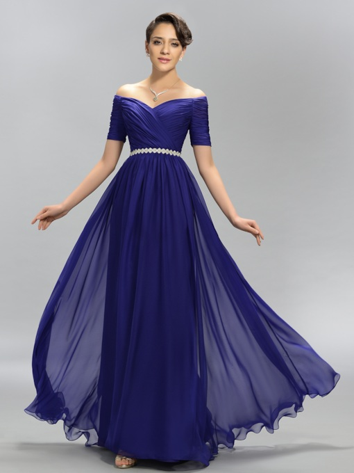Off-the-Shoulder Pleats Short Sleeves Evening Dress