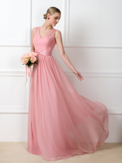 A-Line V-Neck Sashes Floor-Length Bridesmaid Dress