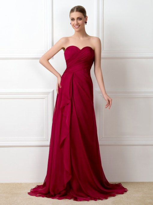 Sweetheart Ruched Long Bridesmaid Dress