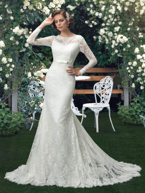 Long Sleeves Bowknot Mermaid Lace Wedding Dress