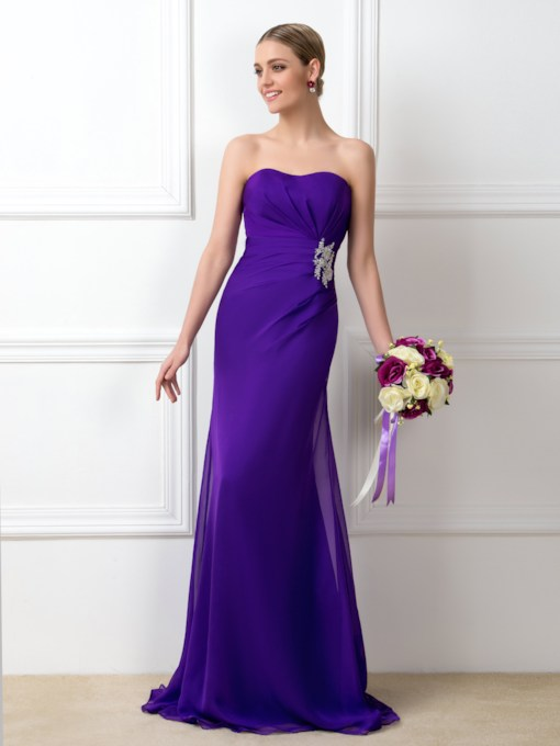 Strapless Ruched Beading Long Bridesmaid Dress