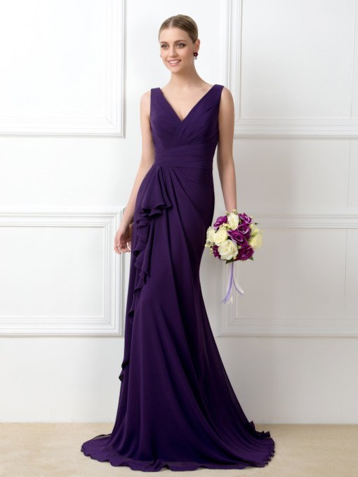 Sheath V-Neck Ruffles Long Bridesmaid Dress